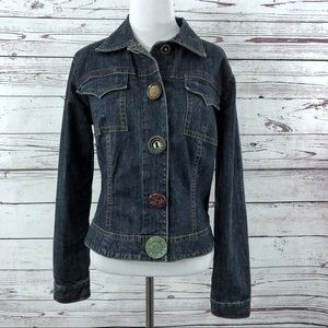 CABI Mismatched Button Snap Jean Jacket SZ Small